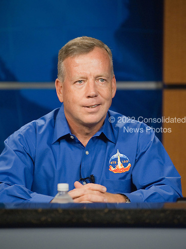 National Aeronautics and Space Administration (NASA) astronaut Steve Lindsey, STS-133 commander, responds to a question from a reporter during an STS-133 preflight press conference at NASA's Johnson Space Center in Houston, Texas on Thursday, October 21, 2010. STS-133, aboard the Space Shuttle Discovery, is scheduled for launch Monday, November 1, 2010 at 4:40 p.m. EDT.  STS-133, aboard the Space Shuttle Discovery, is scheduled for launch Monday, November 1, 2010 at 4:40 p.m. EDT..Mandatory Credit: James Blair / NASA via CNP.