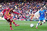 Dom Poleon of Bradford City shoots during the Sky Bet League 1 match between Bradford City and Gillingham at the Northern Commercial Stadium, Bradford, England on 24 March 2018. Photo by Thomas Gadd.
