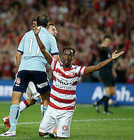 Wanderers Youssouf Hersi reacts during his A-League match against Sydney FC in Sydney, March 8, 2014. VIEWPRESS/Daniel Munoz EDITORIAL USE ONLY