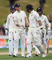 3rd December, Hamilton, New Zealand;  England's Ben Stokes congratulates Ross Taylor on his century during play day 5 of the 2nd test cricket match between New Zealand and England at Seddon Park, Hamilton, New Zealand.