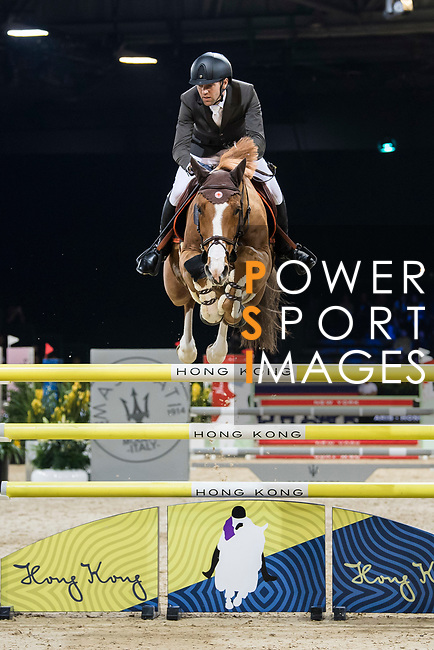 Simon Delestre of France riding Chesall Zimequest competes in the Longines Grand Prix during the Longines Masters of Hong Kong at AsiaWorld-Expo on 11 February 2018, in Hong Kong, Hong Kong. Photo by Diego Gonzalez / Power Sport Images