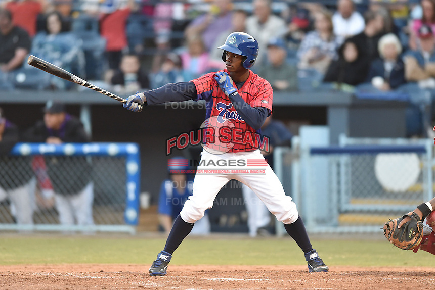 Asheville Tourists right fielder Raimel Tapia #15 during a game against the Lakewood BlueClaws at McCormick Field on May 2, 2014 in Asheville, North Carolina. The Tourists defeated the BlueClaws 14-3. (Tony Farlow/Four Seam Images)