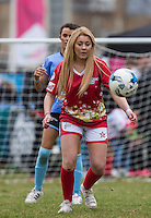 ELLIE YOUNG(IBIZA WEEKENDER) keeps eyes on the ball during the SOCCER SIX Celebrity Football Event at the Queen Elizabeth Olympic Park, London, England on 26 March 2016. Photo by Andy Rowland.