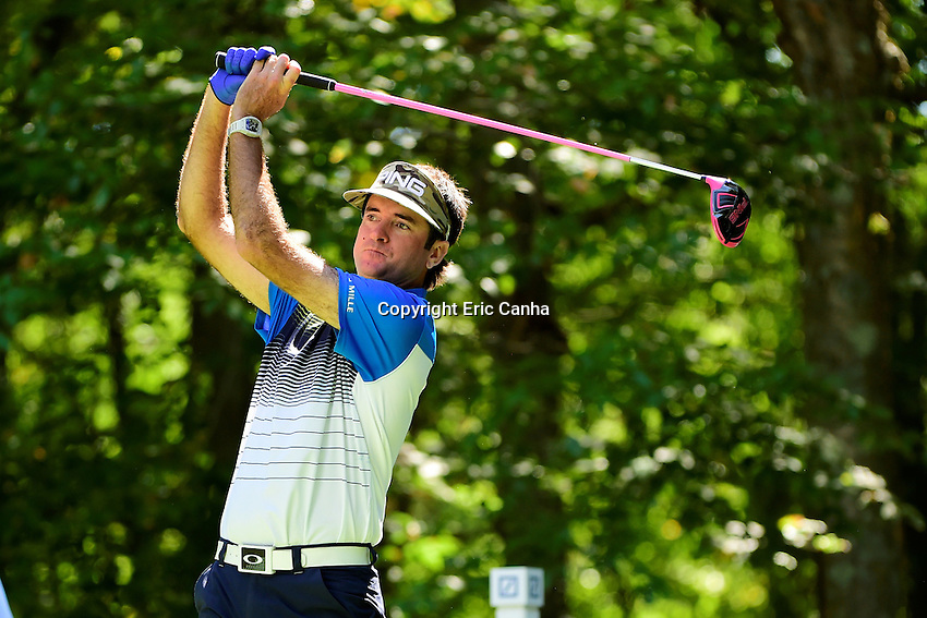 Friday, September 2, 2016:  Bubba Watson watches the flight of his ball down the 9th fairway during the first round of the Deutsche Bank Championship tournament held at the Tournament Players Club, in Norton, Massachusetts.  Eric Canha/Cal Sport Media