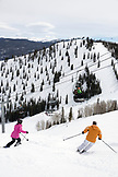 USA, Colorado, Aspen, skiing the top of the F.I.S. trail, Aspen Ski Resort, Ajax mountain