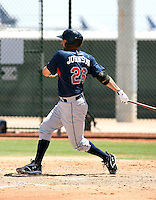 Nick Johnson #26 of the Cleveland Indians plays in an extended spring training game against the Seattle Mariners at the Indians minor league complex on May 14, 2011  in Goodyear, Arizona. .Photo by:  Bill Mitchell/Four Seam Images.