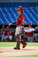 Washington Nationals catcher Tres Barrera (26) during a Florida Instructional League game against the Miami Marlins on September 26, 2018 at the Marlins Park in Miami, Florida.  (Mike Janes/Four Seam Images)