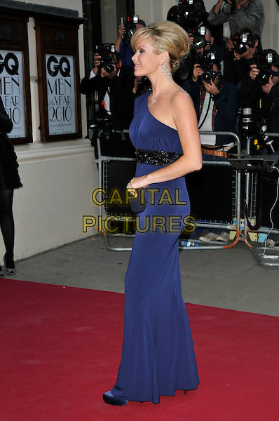 AMANDA HOLDEN .At the GQ Men of The Year Awards held at The Royal Opera House, Covent Garden, London, England, UK, September 7th 2010..full length blue one shoulder long maxi dress side black clutch bag sleeve profile .CAP/PL.©Phil Loftus/Capital Pictures.