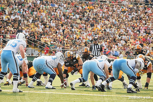 September 7, 2009; Hamilton, ON, CAN; Hamilton Tiger-Cats offense in the Argos redzone. CFL football - the Labour Day Classic - Toronto Argonauts vs. Hamilton Tiger-Cats at Ivor Wynne Stadium. The Tiger-Cats defeated the Argos 34-15. Mandatory Credit: Ron Scheffler.