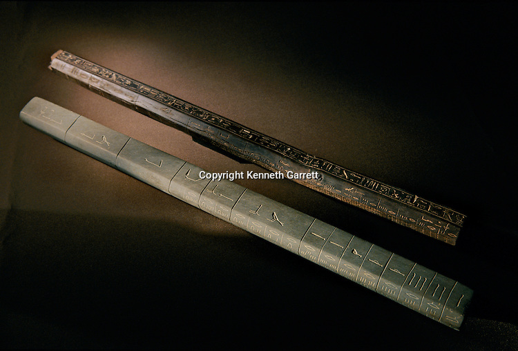 Wooden (upper) and schist (lower) cubit  measuring rods, New Kingdom