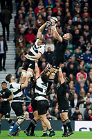 Twickenham, Surrey. England.   All Blacks' Luke ROMANO, collects the &quot;line out ball&quot;,  during the Killik Cup, Barbarians vs New Zealand. Twickenham. UK<br /> <br /> Saturday  04.11.17<br /> <br /> [Mandatory Credit Peter SPURRIER/Intersport Images]