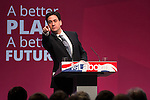 © Joel Goodman - 07973 332324 . 13/04/2015 . Manchester , UK . Labour Party leader ED MILIBAND launches the Labour Party manifesto ahead of the General Election at the Old Granada Studios in Manchester , UK . Photo credit : Joel Goodman