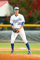 Burlington Royals relief pitcher Sam Lewis (30) in action against the Elizabethton Twins at Burlington Athletic Park on August 11, 2013 in Burlington, North Carolina.  The Twins defeated the Royals 12-5.  (Brian Westerholt/Four Seam Images)
