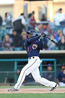 Jose Fernandez (5) of the Lancaster JetHawks bats during a game against the San Jose Giants at The Hanger on April 11, 2015 in Lancaster, California. San Jose defeated Lancaster, 8-3. (Larry Goren/Four Seam Images)