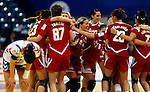 BELGRADE, SERBIA - DECEMBER 16:  Hungary handball team celebrtate victory against Serbia after the Women's European Handball Championship 2012 third place match between Hungary and Serbia at Arena Hall on December 16, 2012 in Belgrade, Serbia. (Photo by Srdjan Stevanovic/Getty Images)
