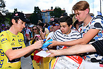 Race leader Geraint Thomas (WAL) Team Sky with fans at sign on before the start of Stage 15 of the 2018 Tour de France running 181.5km from Millau to Carcassonne, France. 22nd July 2018. <br /> Picture: ASO/Alex Broadway | Cyclefile<br /> All photos usage must carry mandatory copyright credit (&copy; Cyclefile | ASO/Alex Broadway)