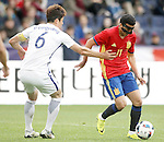 Spain's Pedro Rodriguez (r) and South Korea's Sungyueng Ki during friendly match. June 1,2016.(ALTERPHOTOS/Acero)
