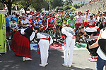 Traditional start before Stage 11 of La Vuelta 2019 running 180km from Saint Palais, France to Urdax-Dantxarinea, Spain. 4th September 2019.<br /> Picture: Luis Angel Gomez/Photogomezsport | Cyclefile<br /> <br /> All photos usage must carry mandatory copyright credit (© Cyclefile | Luis Angel Gomez/Photogomezsport)