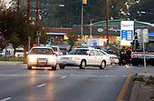 """Silver Spring, MD - October 22, 2002 -- Police block Georgia Avenue in Silver Spring about 2 miles south of the shooting scene in Aspen Hill.  Traffic was stopped in both directions as police searched for the white van that is believed to be used by the """"Beltway Sniper"""".<br /> Credit: Ron Sachs / CNP<br /> (RESTRICTION: NO New York or New Jersey Newspapers or newspapers within a 75 mile radius of New York City)"""