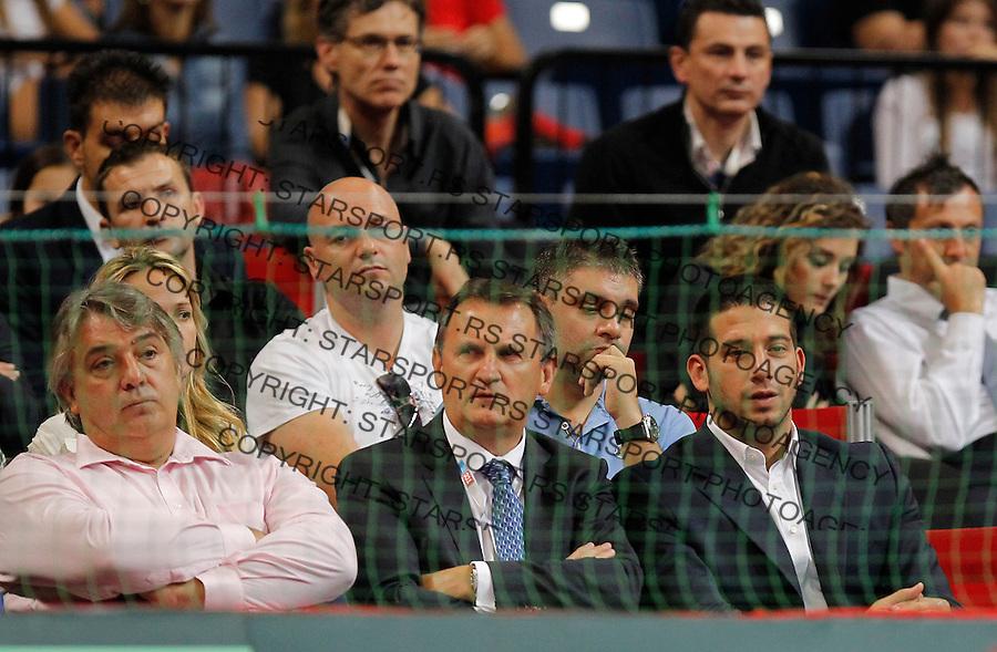 Tennis Tenis<br /> Davis Cup semifinal polufinale<br /> Serbia v Canada<br /> Janko Tipsarevic v Vasek Pospisil<br /> from left Slobodan Zivojinovic Toplica Spasojevic and Vanja Udovicic<br /> Beograd, 15.09.2013.<br /> foto: Srdjan Stevanovic/Starsportphoto &copy;
