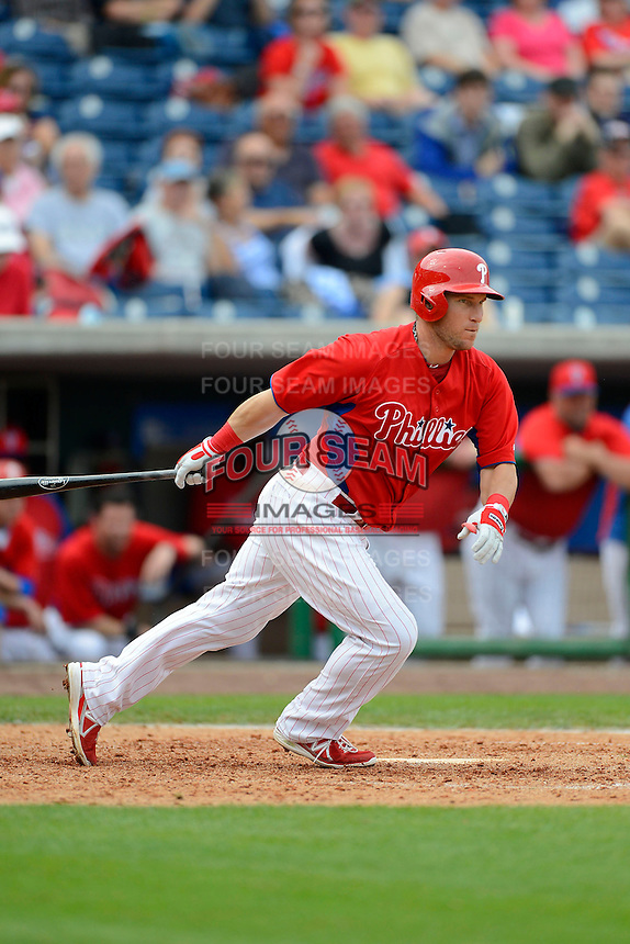 Philadelphia Phillies outfielder Laynce Nix #19 during a Spring Training game against the New York Yankees at Bright House Field on February 26, 2013 in Clearwater, Florida.  Philadelphia defeated New York 4-3.  (Mike Janes/Four Seam Images)