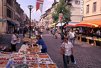 street market, Switzerland, La Cote, Vaud, Open air market in the town of Morges.