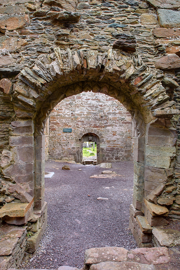 Romanesque doorway within ruined Norman church of Kilmalkedar (Cill Mhaoilcheadair), Dingle Peninsula, County Kerry, Republic of Ireland
