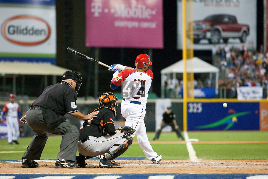 11 March 2009: #18 Geovany Soto of Puerto Rico hits the ball during the 2009 World Baseball Classic Pool D game 6 at Hiram Bithorn Stadium in San Juan, Puerto Rico. Puerto Rico wins 5-0 over the Netherlands