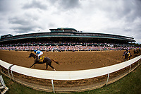LEXINGTON, KY - OCTOBER 07: Free Drop Billy #9, ridden by Robby Albarado is alone at the wire in the Claiborne Breeders' Futurity  at Keeneland Race Course on October 07, 2017 in Lexington, Kentucky. (Photo by Alex Evers/Eclipse Sportswire/Getty Images)