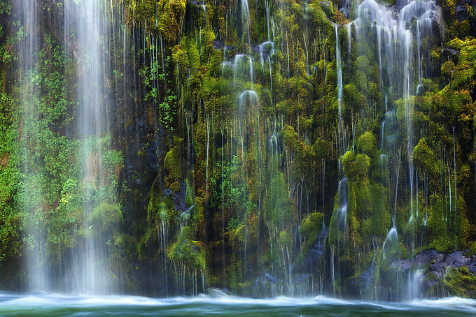 Water cascades down moss laden cliffs into the Sacramento River at a unique falls in Northern California.