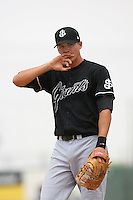 July 17 2008: Brett Pill of the San Jose Giants during game against the Lancaster JetHawks at Clear Channel Stadium in Lancaster,CA.  Photo by Larry Goren/Four Seam Images