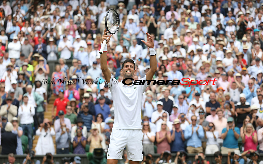 Novak Djokovic (SRB) celebrates after winning his match against David Goffin (BEL) in their Gentleman's Singles Quarter Final match<br /> <br /> Photographer Rob Newell/CameraSport<br /> <br /> Wimbledon Lawn Tennis Championships - Day 9 - Wednesday 10th July 2019 -  All England Lawn Tennis and Croquet Club - Wimbledon - London - England<br /> <br /> World Copyright © 2019 CameraSport. All rights reserved. 43 Linden Ave. Countesthorpe. Leicester. England. LE8 5PG - Tel: +44 (0) 116 277 4147 - admin@camerasport.com - www.camerasport.com