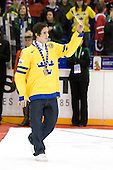 Marcus Johansson (Sweden - 11) - Team Sweden celebrates after defeating Team Switzerland 11-4 to win the bronze medal in the 2010 World Juniors tournament on Tuesday, January 5, 2010, at the Credit Union Centre in Saskatoon, Saskatchewan.