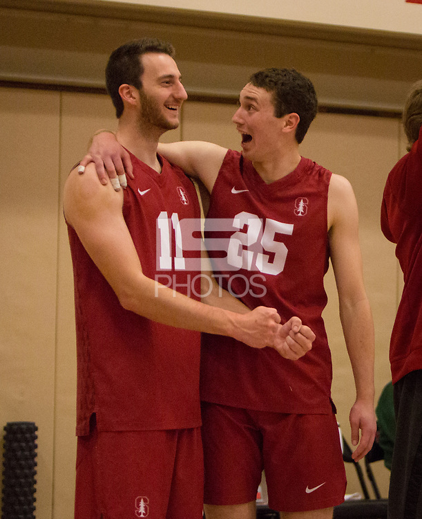 STANFORD, CA - March 10, 2018: Chris Moore, Jake Stuebner at Burnham Pavilion. The Stanford Cardinal lost to UC Irvine, 3-0.