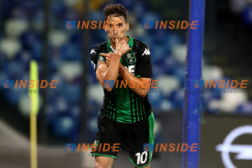 Filip Djuricic of US Sassuolo celebrates after scoring a goal, canceled by the referee, during the Serie A football match between SSC Napoli and US Sassuolo at stadio San Paolo in Napoli ( Italy ), July 25th, 2020. Play resumes behind closed doors following the outbreak of the coronavirus disease. <br /> Photo Cesare Purini / Insidefoto