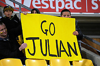 "Fans with a ""Go Julian"" placard during the Mitre 10 Cup rugby union match between Wellington Lions and Hawkes Bay Magpies at Westpac Stadium, Wellington, New Zealand on Wednesday, 6 September 2017. Photo: Dave Lintott / lintottphoto.co.nz"