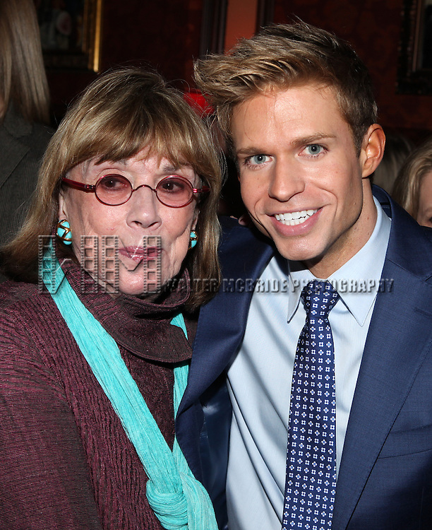 Phyllis Newman, Hunter Ryan Herdlicka attending a reception celebrating Hunter's 54 Below debut with 'You Make Me Feel So Young'  in New York City on 3/25/2013
