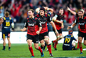 June 3rd 2017, AMI Stadium, Christchurch, New Zealand; Super Rugby; Crusaders versus Highlanders;  Matt Todd of the Crusaders celebrates winning the match with drop goal kicker Mitch Hunt of the Crusaders during the Super Rugby match