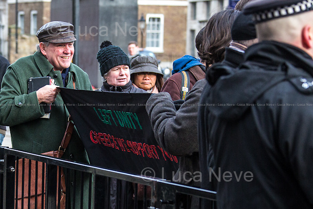 Left Unity members outside Downing Street.<br />