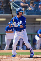 Rancho Cucamonga Quakes Connor Wong (33) at bat against the Lake Elsinore Storm at LoanMart Field on April 22, 2018 in Rancho Cucamonga, California. The Storm defeated the Quakes 8-6.  (Donn Parris/Four Seam Images)