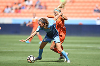 Houston, TX - Saturday May 13, 2017: Sky Blue FC midfielder Sarah Killion (16), Houston Dash forward Rachel Daly (3) during a regular season National Women's Soccer League (NWSL) match between the Houston Dash and Sky Blue FC at BBVA Compass Stadium. Sky Blue won the game 3-1.