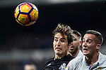 Pedro Mosquera Parada of RC Deportivo La Coruna fights for the ball with Lucas Vazquez of Real Madrid during the La Liga match between Real Madrid and RC Deportivo La Coruna at the Santiago Bernabeu Stadium on 10 December 2016 in Madrid, Spain. Photo by Diego Gonzalez Souto / Power Sport Images