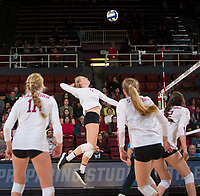 STANFORD, CA - December 1, 2017: Kathryn Plummer at Maples Pavilion. The Stanford Cardinal defeated the CSU Bakersfield Roadrunners 3-0 in the first round of the NCAA tournament.