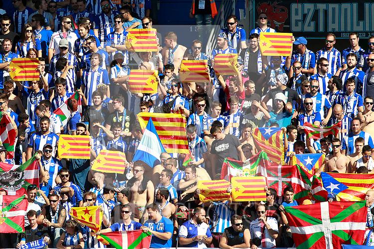 Deportivo Alaves' supporters show catalan independence flags, esteladas, during La Liga match. September 23,2017. (ALTERPHOTOS/Acero)