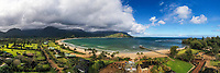 An aerial view of Hanalei Bay, Beach and Pier, and the surrounding area, northern Kaua'i.