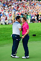 Justin Thomas (USA) and Hideki Matsuyama (JPN) shake hands at the end of their hard fought round following  Sunday's final round of the PGA Championship at the Quail Hollow Club in Charlotte, North Carolina. 8/13/2017.<br /> Picture: Golffile | Ken Murray<br /> <br /> <br /> All photo usage must carry mandatory copyright credit (&copy; Golffile | Ken Murray)