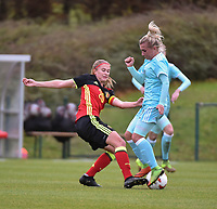 20171123 - TUBIZE , BELGIUM : Belgian Julie Biesmans (L) and Russian Korovkina (R) pictured during a friendly game between the women teams of the Belgian Red Flames and Russia at complex Euro 2000 in Tubize , Thursday  23 October 2017 ,  PHOTO Dirk Vuylsteke | Sportpix.Be
