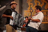 Sunpie performs with his band Sunpie and the Louisiana Sunspots on the Blues Tent stage at the New Orleans Jazz and Heritage Festival at the New Orleans Fair Grounds Race Course in New Orleans, Louisiana, USA, 30 April 2009.
