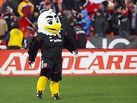 "DC United's ""revamped"" mascot Talon. DC United defeated the LA Galaxy 1-0 with a stoppage time goal from Chris Pontius at RFK Stadium in Washington DC."