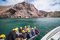 Arriving by Zodiac onto White Island Volcano, Bay of Plenty, North Island, New Zealand